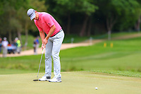 Justin Rose putts on the 4th green during the BMW PGA Golf Championship at Wentworth Golf Course, Wentworth Drive, Virginia Water, England on 28 May 2017. Photo by Steve McCarthy/PRiME Media Images.
