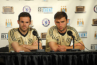 Chelsea F.C training at Busch Stadium, St Louis ahead of the friendly game verus Manchester City..Juan Mata , Branislav Ivanovic pre practice press conference.