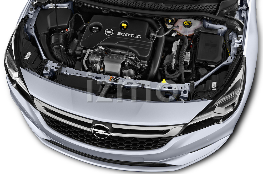 Car Stock 2016 Opel Astra Innovation 5 Door Wagon Engine  high angle detail view