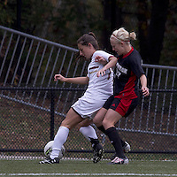 Boston College forward Alaina Beyar (17) controls the ball as NC State midfielder/forward Stephanie Bronson (27) pressures. Boston College defeated North Carolina State,1-0, on Newton Campus Field, on October 23, 2011.