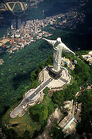 Life in Brazil world famous Corcovado Christ Statue on mountain in Rio de Janeiro peak.