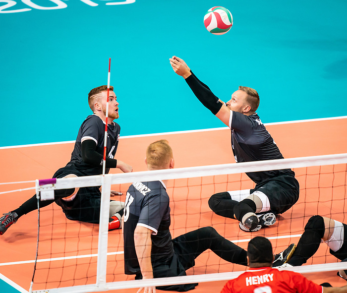 Bryce Foster and Austin Hinchey, Lima 2019 - Sitting Volleyball // Volleyball assis.<br /> Canada competes in men's Sitting Volleyball // Canada participe au volleyball assis masculin. 25/08/2019.
