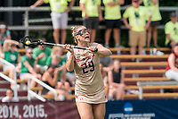 NEWTON, MA - MAY 22: Phoebe Day #29 of Boston College looks to pass during NCAA Division I Women's Lacrosse Tournament quarterfinal round game between Notre Dame and Boston College at Newton Campus Lacrosse Field on May 22, 2021 in Newton, Massachusetts.