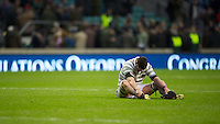 Scott Annett of Cambridge University is distraught after losing the 131st Varsity Match between Oxford University and Cambridge University at Twickenham on Thursday 06 December 2012 (Photo by Rob Munro)