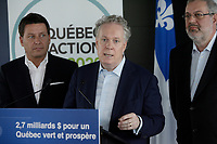 Montreal (Qc) CANADA - June 3, 2012 file photo - Pierre Arcand , Quebec Environment Minister and Jean Charest, Quebec Premier announce ''  Le Quebec  en action vert 2020 ''<br />  : an investment of 2,7 billion dollars for a greener Quebec