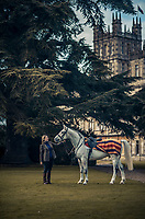 The Countess of Carnarvon with one of her horses in the park at Highclere Castle
