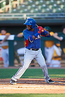 AZL Rangers Keyber Rodriguez (22) at bat during an Arizona League game against the AZL Athletics Gold on July 15, 2019 at Hohokam Stadium in Mesa, Arizona. The AZL Athletics Gold defeated the AZL Rangers 9-8 in 11 innings. (Zachary Lucy/Four Seam Images)