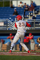 Williamsport Crosscutters designated hitter Jose Pujols (23) at bat during a game against the Batavia Muckdogs on August 27, 2015 at Dwyer Stadium in Batavia, New York.  Batavia defeated Williamsport 3-2.  (Mike Janes/Four Seam Images)