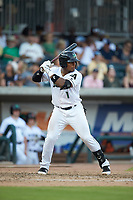 Andres Angulo (1) of the Augusta GreenJackets at bat against the Kannapolis Intimidators at SRG Park on July 6, 2019 in North Augusta, South Carolina. The Intimidators defeated the GreenJackets 9-5. (Brian Westerholt/Four Seam Images)