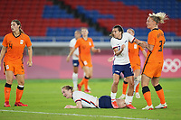 YOKOHAMA, JAPAN - JULY 30: Samantha Mewis #3 of the United States watches her header go in for a goal during a game between Netherlands and USWNT at International Stadium Yokohama on July 30, 2021 in Yokohama, Japan.