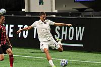 ATLANTA, GA - SEPTEMBER 02: Ben Sweat #22 of Inter Miami CF crosses the ball during a game between Inter Miami CF and Atlanta United FC at Mercedes-Benz Stadium on September 02, 2020 in Atlanta, Georgia.