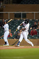 Salt River Rafters Vidal Brujan (33), of the Tampa Bay Rays organization, hits a home run during an Arizona Fall League game against the Mesa Solar Sox on September 19, 2019 at Salt River Fields at Talking Stick in Scottsdale, Arizona. Salt River defeated Mesa 4-1. (Zachary Lucy/Four Seam Images)