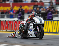 Sep 1, 2017; Clermont, IN, USA; NHRA pro stock motorcycle rider Hector Arana Jr during qualifying for the US Nationals at Lucas Oil Raceway. Mandatory Credit: Mark J. Rebilas-USA TODAY Sports