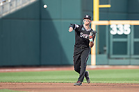Mississippi State Bulldogs shortstop Jordan Westburg (11) makes a throw to first base during Game 5 of the NCAA College World Series against the Auburn Tigers on June 16, 2019 at TD Ameritrade Park in Omaha, Nebraska. Mississippi State defeated Auburn 5-4 6-3. (Andrew Woolley/Four Seam Images)