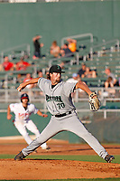 Dayton Dragons pitcher Patrick McGuff (30) delivers a pitch during a game against the Lansing Lugnuts at Cooley Law School Stadium on August 10, 2018 in Lansing, Michigan. Lansing defeated Dayton 11-4.  (Robert Gurganus/Four Seam Images)