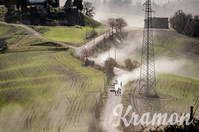 back of the peloton<br /> <br /> 15th Strade Bianche 2021<br /> ME (1.UWT)<br /> 1 day race from Siena to Siena (ITA/184km)<br /> <br /> ©kramon