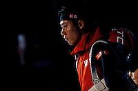 Kei Nishikori of Japan walks onto court at the ATP World Tour Finals, The O2, London, 2015