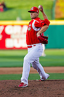 Casey Mulligan (22) of the Springfield Cardinals delivers a pitch during a game against the Frisco RoughRiders on April 16, 2011 at Hammons Field in Springfield, Missouri.  Photo By David Welker/Four Seam Images