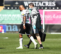 17th April 2021; Liberty Stadium, Swansea, Glamorgan, Wales; English Football League Championship Football, Swansea City versus Wycombe Wanderers; Andre Ayew of Swansea City is taken off early in the first half due to injury