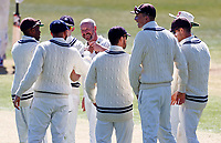 Kent's Darren Stevens (centre) is congratulated after taking the wicket of Yorkshire's Keaton Jennings during Kent CCC vs Lancashire CCC, LV Insurance County Championship Group 3 Cricket at The Spitfire Ground on 22nd April 2021