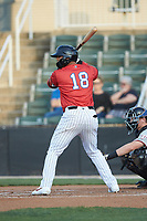 Amado Nunez (18) of the Piedmont Boll Weevils at bat against the Hickory Crawdads at Kannapolis Intimidators Stadium on May 3, 2019 in Kannapolis, North Carolina. The Boll Weevils defeated the Crawdads 4-3. (Brian Westerholt/Four Seam Images)