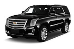 2019 Cadillac Escalade Platinum 5 Door SUV Angular Front stock photos of front three quarter view