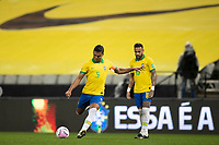 9th October 2020; Arena Corinthians, Sao Paulo, Sao Paulo, Brazil; FIFA World Cup Football Qatar 2022 qualifiers; Brazil versus Bolivia; Casemiro takes a free kick watched by Neymar of Brazil