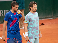 Paris, France, 02 ,10,  2020, Tennis, French Open, Roland Garros, Men's doubles: Wesley Koolhof (NED) (R) and Nilola Mektic (CRO)<br /> Photo: Susan Mullane/tennisimages.com