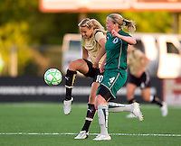 FC Gold Pride midfielder Leslie Osborne (10) and St Louis Athletica defender Sara Larsson (4) battle for the ball during a WPS match at Korte Stadium, in St. Louis, MO, May 9 2009. St. Louis Athletica won the match 1-0.