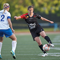 FC Indiana midfielder Jordan Clark (23) traps the ball. In a Women's Premier Soccer League Elite (WPSL) match, the Boston Breakers defeated FC Indiana, 4-1, at Dilboy Stadium on May 18, 2012.