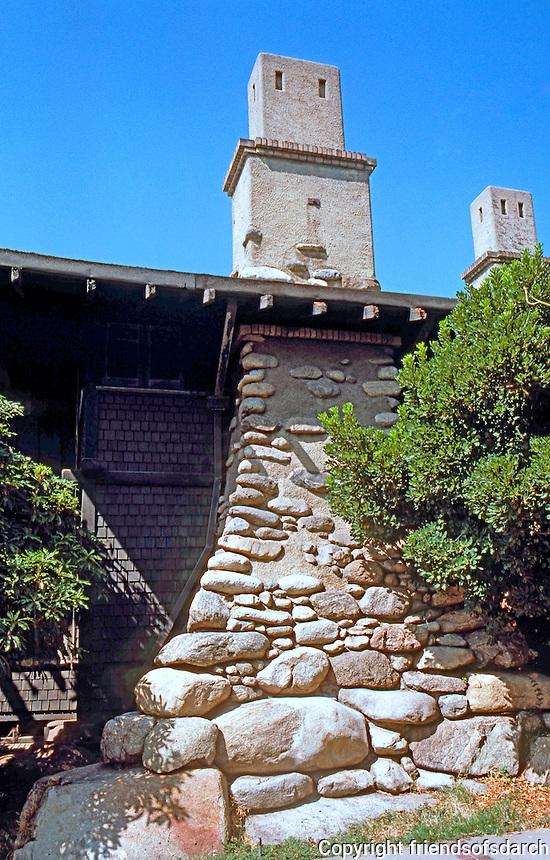 Greene & Greene: Cole House, 2 Westmoreland Place, Pasadena. Chimney detail.  Photo '84.