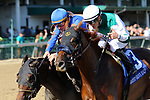 LOUISVILLE, KY - SEP 15: Blue Prize (#3, jockey Julien Leparoux) wins the 25th running of the G3 Locust Grove Stakes at Churchill Downs, Louisville, Kentucky. Owner Merriebelle Stable LLC (John Moores and Charles Noell), trainer Ignacio Correas IV, by Pure Prize x Blues for Sale (Not For Sale) (Photo by Mary M. Meek/Eclipse Sportswire/Getty Images)