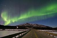 Aurora borealis over the south fork of the Koyukuk River, James Dalton Highway, Brooks Range, Arctic, Alaska