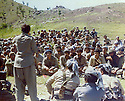 Iraq 1981 .Hatige Yachar speaking to the peshmergas at the congress of Komala  .Irak 1981 .Intervention de Hatige Yachar au congres du Komalal
