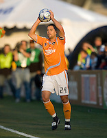 22 May 2008:  Wade Barrett of the Dynamo prepares to throw the ball during the game against the Earthquakes at Buck Shaw Stadium in San Jose, California.   San Jose Earthquakes defeated Houston Dynamo, 2-1.