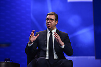 Washington, DC - March 1, 2020: President of Serbia, Aleksandar Vucic, participates in a conversation at the AIPAC Policy Conference held at the Washington Convention Center March 1, 2020.  (Photo by Don Baxter/Media Images International)