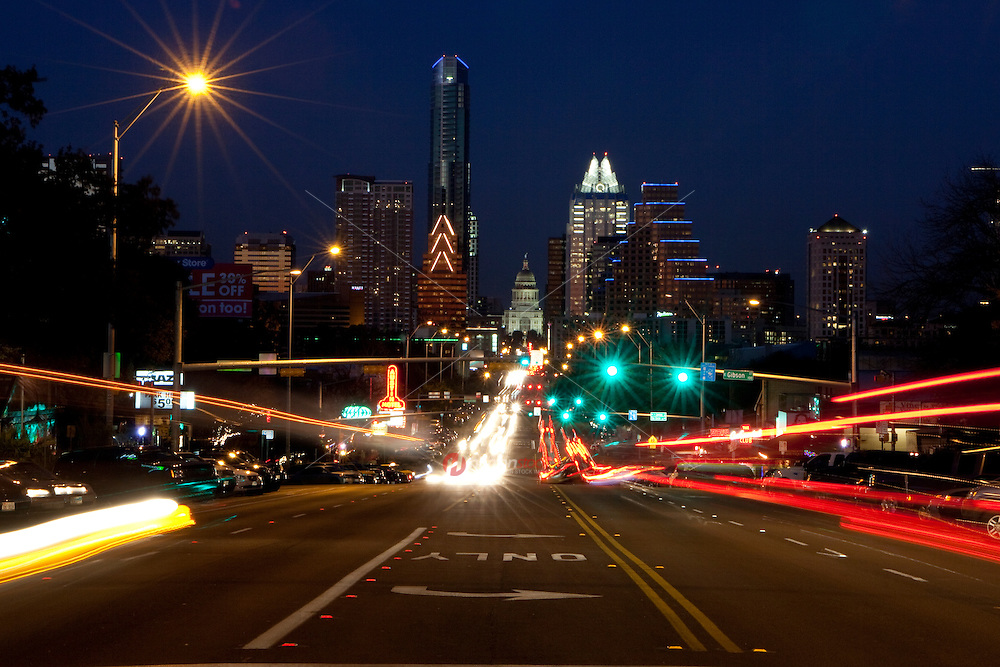 Downtown Austin traffic whizes up and down South Congress (Soco) Avenue