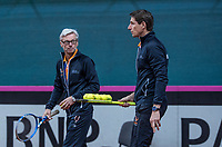 Bratislava, Slovenia, April 23, 2017,  FedCup: Slovakia-Netherlands, Practise Dutch team, captain Paul Haarhuis  on the left coach Martin Bohm<br /> Photo: Tennisimages/Henk Koster