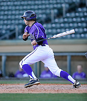 Second baseman Jordan Simpson (27) of the Miami (Ohio) Redhawks in a game against the Furman Paladins on Sunday, February 17, 2013, at Fluor Field at the West End in Greenville, South Carolina. (Tom Priddy/Four Seam Images)