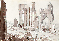 BNPS.co.uk (01202 558833)<br /> Pic: StroudAuctions/BNPS<br /> <br /> Pictured: Captain Theodore drew landmarks including churches which were reduced to rubble deadly barrages.<br /> <br /> The poignant sketchbook of a World War One surgeon has been unearthed a century later.<br /> <br /> Captain Theodore Howard Somervell, of the Royal Medical Corps, treated hundreds of wounded Tommies in a field hospital at the Battle of the Somme. <br /> <br /> He was one of just four surgeons working flat-out in a tent, as scores of casualties lay dying on stretchers outside on the bloodiest in British military history.<br /> <br /> There is a sombre pencil sketch of a soldier on the operating table surrounded by a nurse and doctors. Another watercolour shows the bodies of soldiers strewn on a boggy Western Front battlefield.<br /> <br /> Capt Somervell, who was Mentioned In Despatches, drew landmarks including churches which were reduced to rubble in the deadly barrage. He also took rare photos of life on the frontline, including some taken inside an operating theatre. His sketchbook is being sold by a direct descendant with Stroud Auctions, of Gloucs.