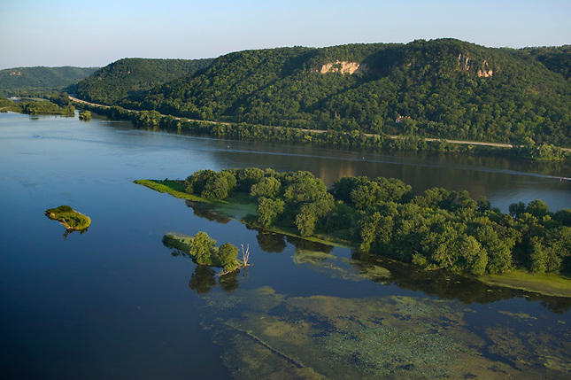 Islands and marshland Mississippi River near Winona Minnesota.