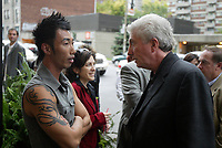 Montreal (QC) CANADA, October 3rd 2007 -<br /> Gilles Duceppe, leader of the Bloc Quebecois (R)  at the<br /> Launch of Montreal Designer Dinh Ba, at his boutique on Amherst street in Montreal.<br /> <br /> <br /> photo : (c) ¨Pierre Roussel -  images Distribution