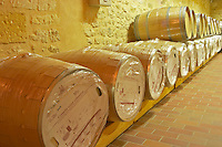 in the wine cellar: new Barriques barrels in their original packaging - Chateau Grand Mayne, Saint Emilion, Bordeaux