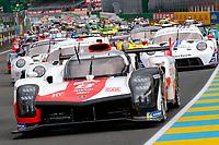 #8 Toyota Gazoo Racing Toyota GR010 - Hybrid Hypercar, Sébastien Buemi, Kazuki Nakajima, Brendon Hartley, 24 Hours of Le Mans , Group Photo, Circuit des 24 Heures, Le Mans, Pays da Loire, France