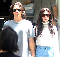 NEW YORK, NY- JUNE 8: Jared Leto and Anne Hathaway on the set of the  AppleTV+ Series WeCrashed in New York City on June 8, 2021. <br /> CAP/MPI/RW<br /> ©RW/MPI/Capital Pictures