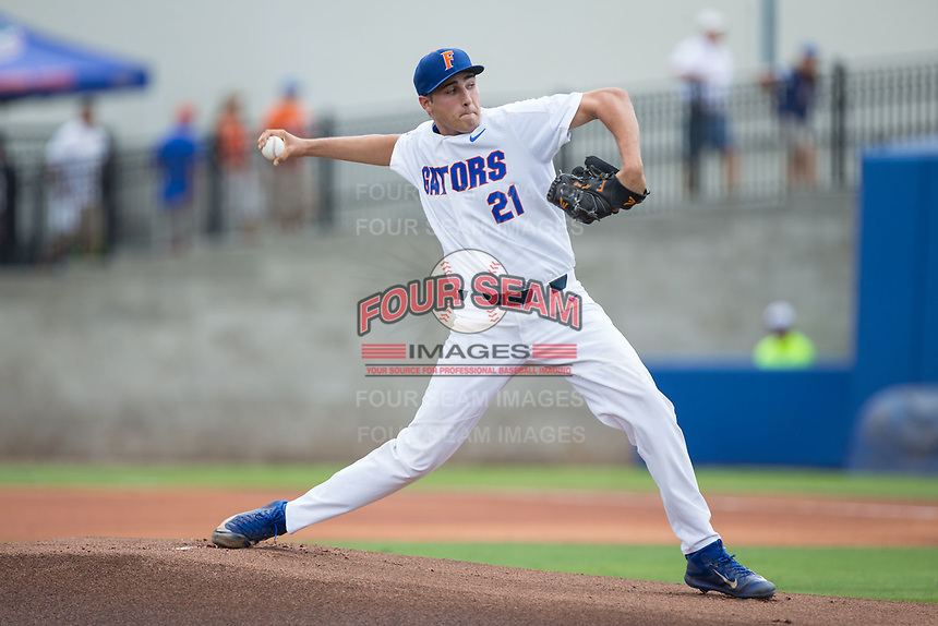 Florida Gators starting pitcher Alex Faedo (21) in action against the Wake Forest Demon Deacons in Game One of the Gainesville Super Regional of the 2017 College World Series at Alfred McKethan Stadium at Perry Field on June 10, 2017 in Gainesville, Florida.  (Brian Westerholt/Four Seam Images)