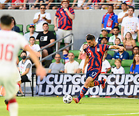 AUSTIN, TX - JULY 29: Sebastian LLetget #17 of the United States attempts a long pass during a game between Qatar and USMNT at Q2 Stadium on July 29, 2021 in Austin, Texas.