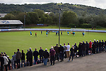 Harestanes AFC v Girvan FC, 15/08/2015. Scottish Cup preliminary round, Duncansfield Park. Spectators watching the first-half action as Harestanes AFC (in light blue) take on Girvan FC in a Scottish Cup preliminary round tie, staged at Duncansfield Park, home of Kilsyth Rangers. The home team were the first winners of the Scottish Amateur Cup to be admitted directly into the Scottish Cup in the modern era, whilst the visitors participated as a result of being members of both the Scottish Football Association and the Scottish Junior Football Association. Girvan won the match by 3-0, watched by a crowd of 300, which was moved from Harestanes ground as it did not comply with Scottish Cup standards. Photo by Colin McPherson.