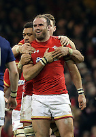 Jamie Roberts of Wales celebrates his try during the RBS 6 Nations Championship rugby game between Wales and Scotland at the Principality Stadium, Cardiff, Wales, UK Saturday 13 February 2016