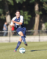 University of Rhode Island (URI) midfielder Trevor Moran (23) clears the ball. Boston College defeated University of Rhode Island, 4-2, at Newton Campus Field, September 25, 2012.